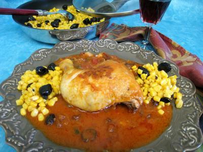 Image : Assiette de poulet aux olives