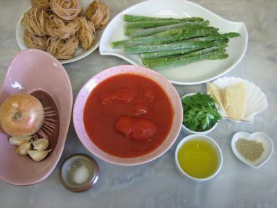 Ingrédients pour la recette : Tagliatelles aux asperges