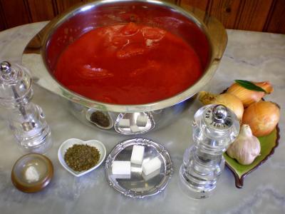 Ingrédients pour la recette : Sauce tomates pour pizza