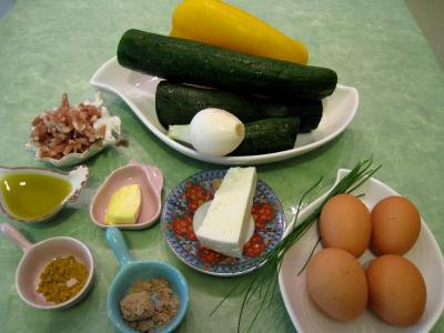 Ingrédients pour la recette : Sauté de légumes et ses oeufs au bain-marie