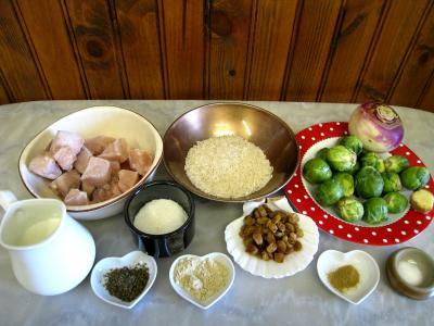 Ingrédients pour la recette : Soupe de choux de Bruxelles et espadon