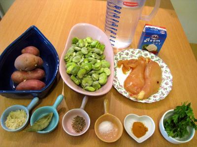 Ingrédients pour la recette : Soupe de filets de poulet aux fèves