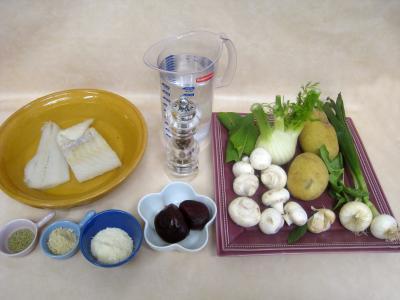 Ingrédients pour la recette : Soupe de morue aux champignons