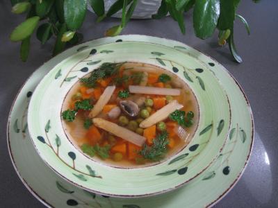 Cuisine diététique : Assiette de minestrone aux asperges