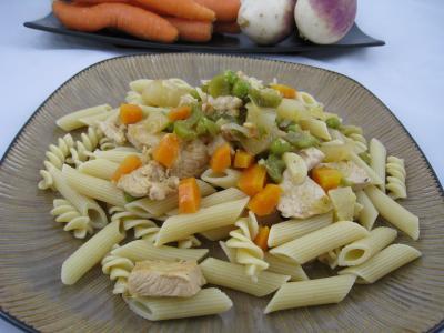 Recette Pâtes complètes aux carottes et légumes