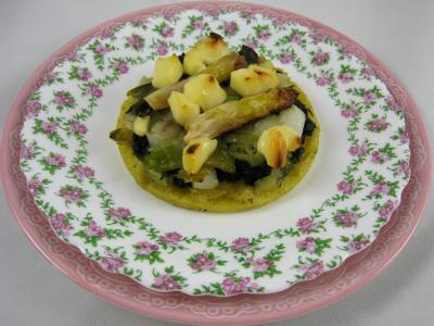 Cuisine diététique : Assiette de polenta aux ognasses, épinards et asperges