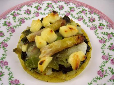 Recette Polenta aux ognasses, aux épinards et aux asperges