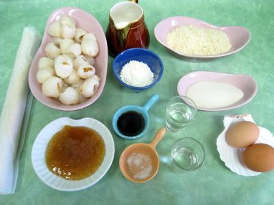 Ingrédients pour la recette : Tarte aux litchis et aux framboises