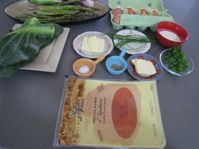 Ingrédients pour la recette : Omelette d'asperges au chou et aux ognasses