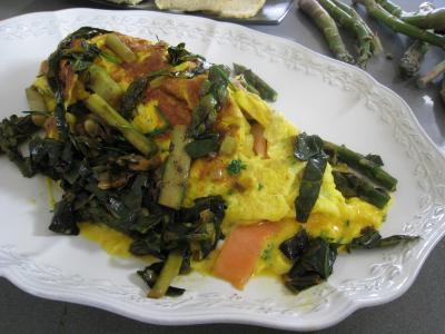 Cuisine diététique : Assiette d'omelette d'asperges au chou et aux ognasses