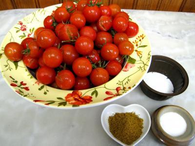 Ingrédients pour la recette : Tomates-cerise confites