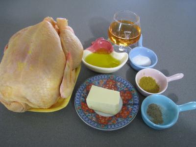 Ingrédients pour la recette : Poulet rôti à l'armagnac