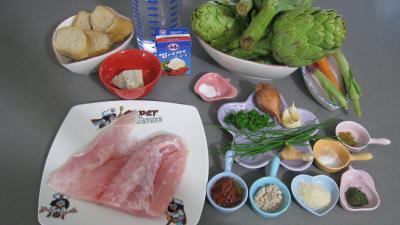 Ingrédients pour la recette : Artichauts farcis à la perche