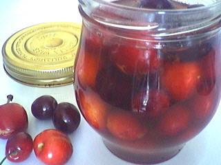 vinaigre : Bocal de cerises au vinaigre