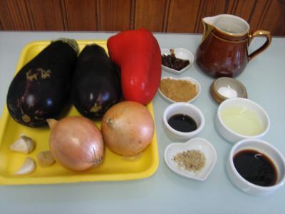Ingrédients pour la recette : Aubergines aux oignons à la chinoise