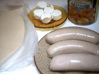 Ingrédients pour la recette : Aumônières d'abricots au boudin blanc