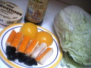 Ingrédients pour la recette : Aumônières de crêpes au chou chinois