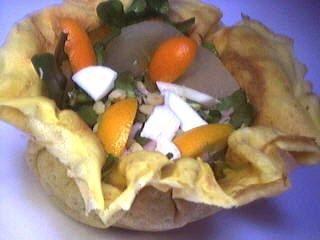 aumônières : Aumônière de crêpe aux kumquats