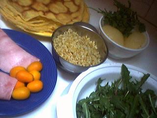 Ingrédients pour la recette : Aumônières de crêpes aux kumquats
