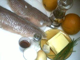 Ingrédients pour la recette : Lieu au beurre d'oranges