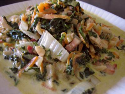carotte fane : Plat de blancs de poulet aux fanes de carottes