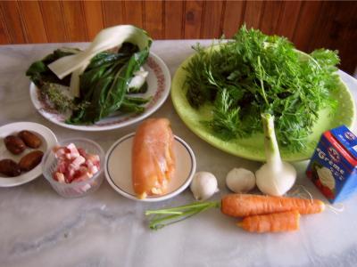 Ingrédients pour la recette : Blancs de poulet aux fanes de carottes