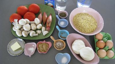 Ingrédients pour la recette : Blé gratiné aux tomates et à la Mozzarella