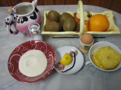 Ingrédients pour la recette : Sorbet aux kiwis et sa crème à l'ananas