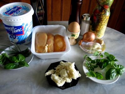 Ingrdients pour la recette : Boulettes de volaille, sauce au fromage blanc