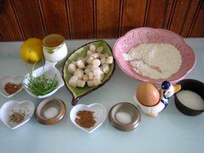 Ingrédients pour la recette : Brochettes de Saint-Jacques à la noix de coco