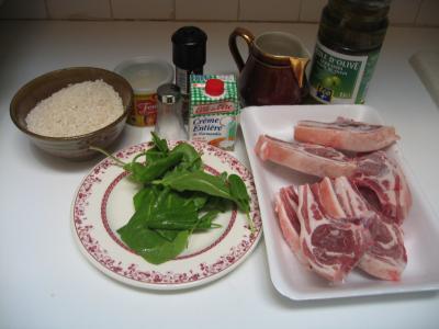 Ingrédients pour la recette : Côtes d'agneau à l'oseille
