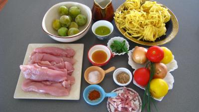 Ingrédients pour la recette : Sauté de dinde aux mirabelles