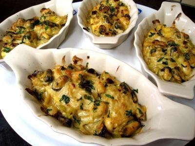 boursin : Cassolettes de moules et polenta au boursin