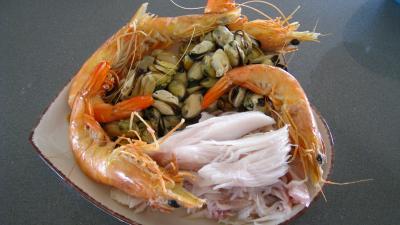 Riz, crevettes, moules et raie à la portugaise - 7.4