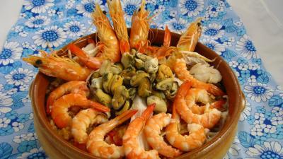 Recette Plat de riz, crevettes, moules et raie