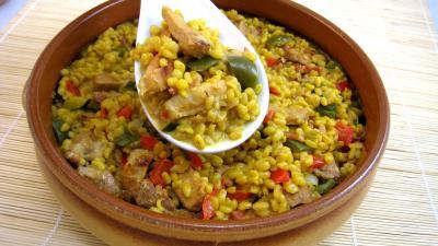 blé : Saladier de sauté de dinde au blé et poivrons