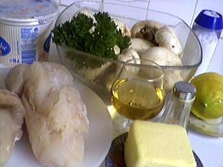 Ingrédients pour la recette : Cabillaud aux champignons