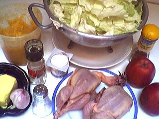 Ingrédients pour la recette : Cailles au chou