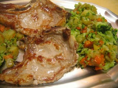 Recette Assiette de côtes de veau sautées aux légumes