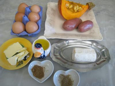 Ingrédients pour la recette : Omelette au potimarron et au chèvre