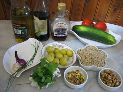 Ingrédients pour la recette : Salade végétarienne aux crozets et aux mirabelles