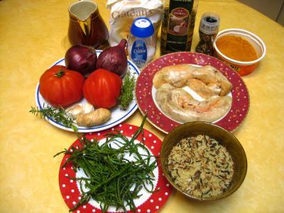 Ingrédients pour la recette : Cari de foies de lotte aux salicornes