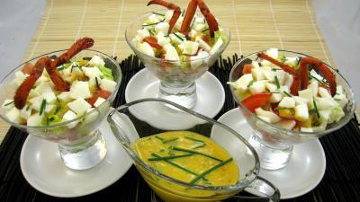 laitue iceberg : verrines de homard en salade