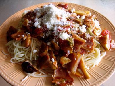recette pâtes : Assiette de capellini aux cèpes