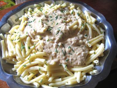 Image : Assiette de macaronis et sa sauce aux noisettes