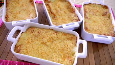 gratin crustacés : Cassolettes de crevettes et pommes de terre en gratin
