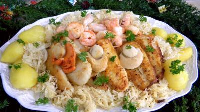 Image : fruits de mer, panga et choucroute