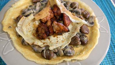 Image : recette Crêpes aux ris de veau, châtaignes et champignons
