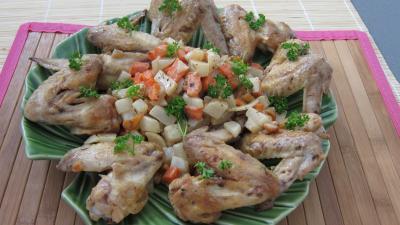 recette poulet : Assiettes d'ailerons de poulets sautés aux navets