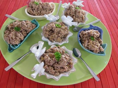 Recette Assiette de hachis de foie de poulet à la juive